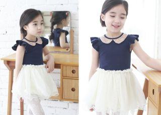 Kids Toddler Sequin Lapel Collar Princess Tutu Skirt Girls Pageant Dress 6 7Year