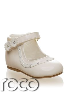 Baby Girls Ivory Cream Shoes Floral Formal Wedding Flowergirl Christening Shoe