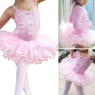 Girls Fairy Ballet Skate Dance Party Leotard Dress Kid Tutu Skirt Costume Sz 2 6