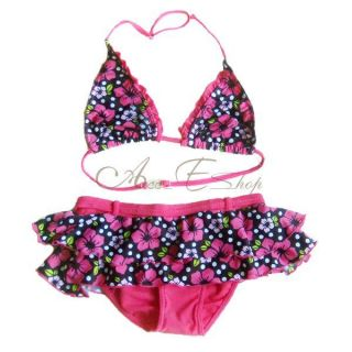 Girls Kids Floral Flower Bikini Swimsuit Swimming Swim Costume Ages 2 8 Years