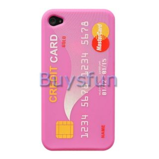 Credit Card Style Hot Pink Silicone Cover Case Skin for Apple iPhone 4 4G 4S