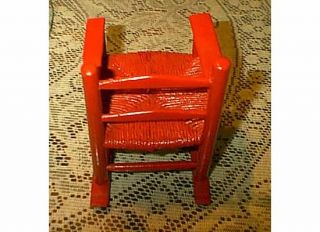 Chrimson Red Wood Rush Seat Ladder Back Doll Rocking Chair Christmas Present
