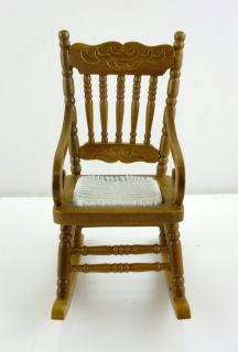 Dolls House Miniature Furniture Walnut Wood Rocking Chair with Woven Seat