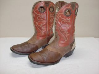Mens 10 D Ariat Crossfire Aged Bark Leather Square Toe Western Work Boots 35867