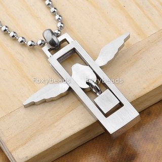 Men's 316L Stainless Steel Love Heart Silvery Angel Wings Pendant Necklace