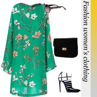 New Womens European Fashion Flower Print Long Sleeve Chiffon Green Dress B1237
