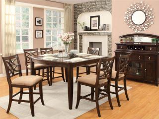Galway 7pcs Traditional Square Counter Height Dining Room Table Chairs Pub Set