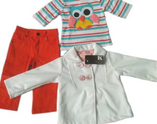 3pcs Baby Girl Kid Owl Outfits Sets Clothes Long Sleeve Coat T Shirt Pants 3 24M