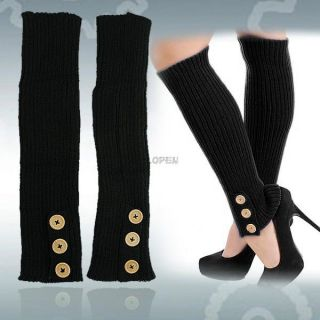 Women's Girl's Ribbed Knit Crochet Knee High Leg Warmer Socks with Side Buttons
