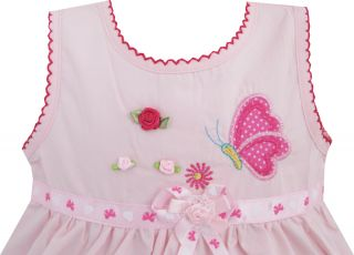 Baby Girls Dress Butterfly Trimmed Sundress Pink Kids Clothes Size 12M 3 New