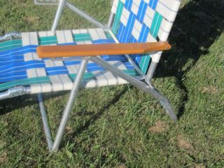 Vintage Aluminum Folding Webbed Reclining Lawn Chair Chaise Lounge