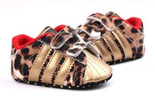 Baby Boy Girl Leopard Gold Crib Shoes Sneaker Size Newborn to 18 Months