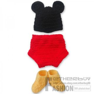3pcs Baby Boy Girl Mickey Mouse Hat Botton Boots Crochet Knit Infant Outfit