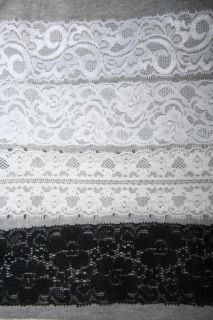 "2 yd Off White Ivory Cream Black Baby Headband Stretch Lace 1 875"" 2"" 2 25"" 2 5"""