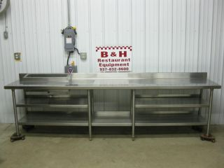 "126"" x 24"" Stainless Steel Cabinet Work Table w 27"" Condiment Prep Rail 10' 6"""