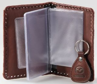 New Leather Auto Documents Holder Cover Drivers LICENCE Insurance Mazda