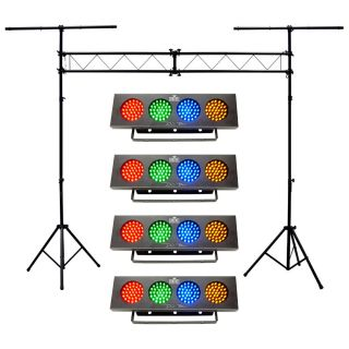 4 DJ Bank Multi Color LED Chase Chauvet Light Portable Truss System Package