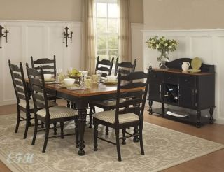 Country Black Pine Wood Finish 7pc Dining Table Set