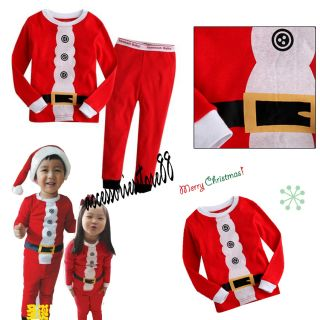 Girls Boys Kids Baby Toddler Pajamas Suits Sleepwear Santa Clause Pyjamas Sets