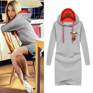 Fashion Korean Leisure Casual Long Sleeve Hoodie Hooded Coat Sweater Shirt Dress