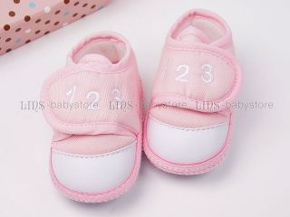 New Toddler Baby Boy Girl Soft White Pink Blue Crib Shoes US Size 0 1 2 3