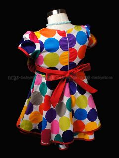 New Kids Toddler Girl Color Dots Party Dresses Clothes 1 2 3 4 5 Years