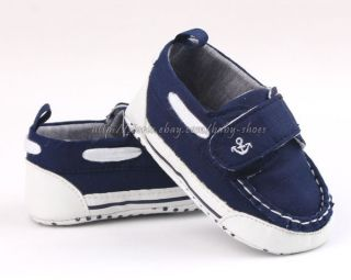 Toddler Baby Boy Navy Boat Shoes Crib Sneakers Size 0 6 6 12 12 18 Months