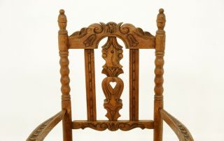 C2111 Antique Scottish Carved Oak Rush Seated Arm Dining Office Chair