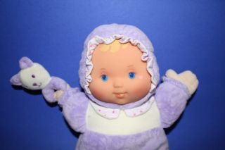 "12"" Dolls by Berenguer Lavender Purple Plush Baby Doll Vinyl Face Cat Rattle"