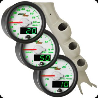 Gray 03 09 Dodge RAM Cummins Triple Pillar Pod White Maxtow Diesel Gauges Kit