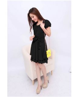 Fashion Ladies Womens Short Sleeve Belted Chiffon Skater Evening Dress