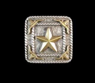 "Western Decor Antiqued Gold Star 1 1 4"" Concho"
