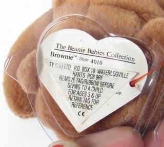Candy Spelling's Beanie Baby Brownie Bear 1993 4010 1st Gen Heart Tag UK Sticker