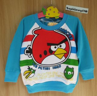 Baby Toddler Clothes Boy Girl Angry Birds Long Sleeve T Shirt Sweatshirt Jacket