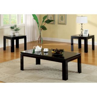 Alarice Contemporary Style Lacquer Coating 3 Piece Coffee Table End Table Set