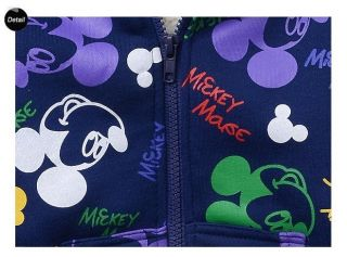 New Cute Kids Boys Girls Mickey Mouse Zipper Winter Thick Fleece Hoodies Clothes