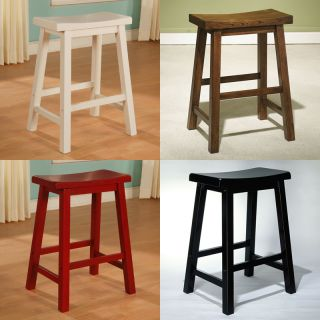 Powell Color Story White Brown Red Black Solid Wood Saddle Seat Counter Stool