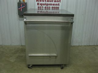 "32"" x 29"" Stainless Steel Mobile Cabinet Work Table w Lift Up Under Shelf"