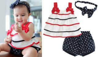 3pcs Baby Girl Toddler Layer Tier Top Dress Headband Pants Shorts Outfit Clothes