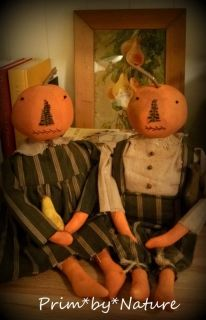 Primitive Pumpkin Fall Autumn Harvest Boy and Girl Cupboard Dolls