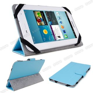 "Blue Leather Case Cover for 7"" Capacitive Multi Touch Android 4 0 Tablet PC"