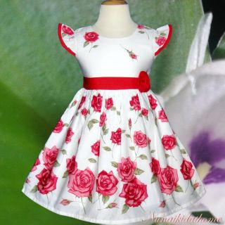 Baby Girls Dress Cream Red Flower Clothing Birthday Summer Party Size 4T