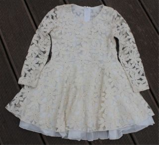New Cute Baby Girls Kids Children Princess Dress Clothes Long Sleeve Lace Beige