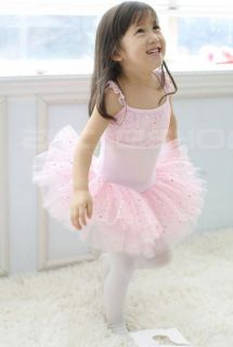 Pink Dance Leotard Ballet Tutu Skirt Dress Sz 4 6 8 10Y
