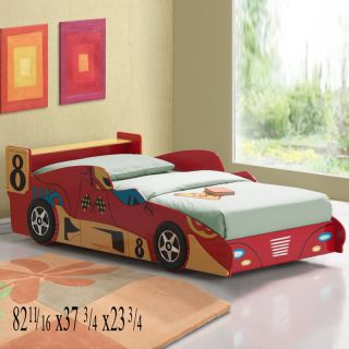 Contemporary Red Finish Wood Kids Youth Boy Girl Twin Race Car Bed