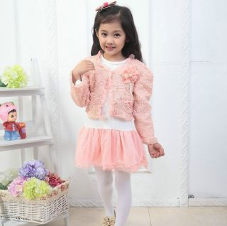 2pcs Baby Girls Flower Top Coat Dress Tutu Skirt Pageant Outfit Set Suit Clothes