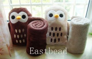 Dual Use Cute Owl Penguin Cushion Pillow Coral Fluff Air Conditioning Blankets