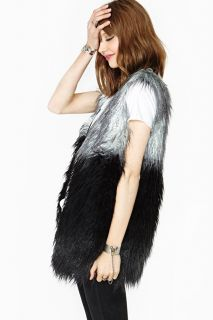 Women Ladies 3 Color Stitching Long Sleeveless  faux Fur Long Vest Jacket Coat