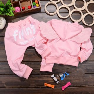 New Cute 2 Pieces Baby Girls Boys Kids Children Angel Wings Suits Outfits Sets