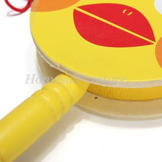 Baby Kid Child Shaking Rattle Wooden Musical Hand Bell Drum Toy Gift Instrument